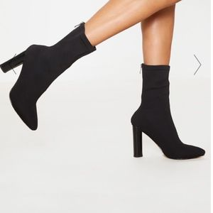 black woven sock heeled boots